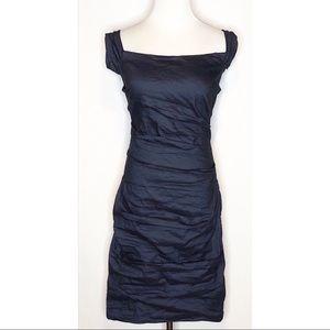 Nicole Miller Gold Label Navy Metallic Tuck Dress